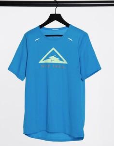Голубая футболка для бега с логотипом Nike Running Trail 365-Голубой