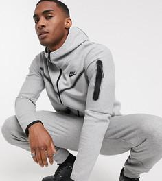 Худи из флиса серого цвета на молнии Nike Tall Tech-Серый