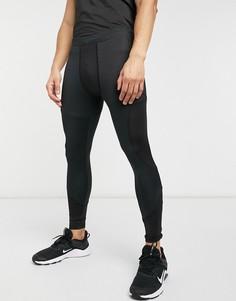 Черные леггинсы для бега с карманом и вставками из сетчатой ткани HIIT Running-Черный цвет