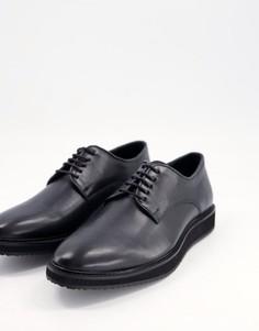 Черные кожаные ботинки на шнуровке Schuh Reube-Черный цвет
