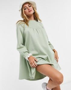 Шалфейно-зеленое платье-свитшот мини свободного кроя из органического хлопка Monki Nilla-Зеленый цвет