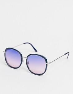 Синие солнцезащитные очки в круглой оправе AJ Morgan-Голубой