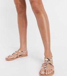 Золотисто-розовые кожаные босоножки с ремешками New Look wide fit-Золотистый