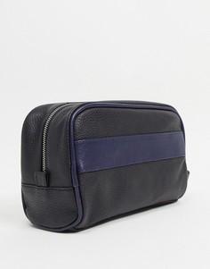 Кожаный несессер в стиле колор блок Silver Street-Черный цвет