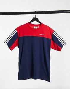 Красно-синяя футболка с короткими рукавами adidas Originals-Красный