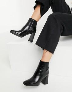 Черные ботинки на каблуке с квадратным носком Miss Selfridge-Черный цвет