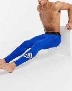 Синие спортивные леггинсы adidas-Голубой