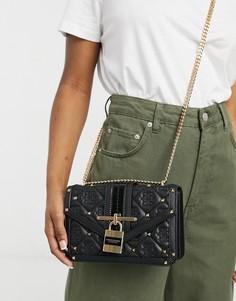 Черная стеганая сумка-портфель с замком спереди и монограммой River Island-Черный цвет