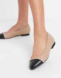 Светло-бежевые туфли на плоской подошве без застежки со стеганой отделкой Steve Madden Kaitlyn-Бежевый