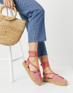 Розовые эспадрильи на шнуровке Love Moschino-Розовый цвет