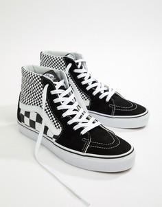 Черные кроссовки с шахматным узором Vans SK8-Hi-Черный