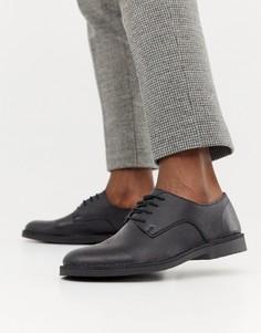 Кожаные туфли на крепированной подошве Selected Homme-Черный
