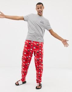 Новогодняя пижама с принтом ASOS DESIGN-Красный