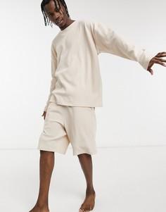 Пижама с лонгсливом и шортами для дома из вафельного трикотажа ASOS DESIGN-Белый