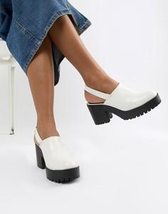 Туфли на толстой подошве с ремешком через пятку ASOS DESIGN Tolsen-Белый