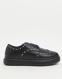 Черные туфли на плоской подошве с заклепками ASOS DESIGN Marie-Черный цвет