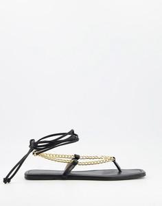 Черные сандалии на плоской подошве с цепочкой Glamorous-Черный цвет