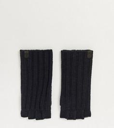 Черные меланжевые перчатки без пальцев в рубчик AllSaints-Черный цвет