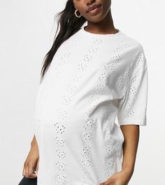 Футболка в стиле oversized с вышивкой ришелье ASOS DESIGN Maternity-Белый