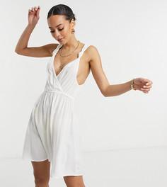 Белое пляжное платье мини из переработанного материала на бретелях с узелками ASOS DESIGN Tall-Белый