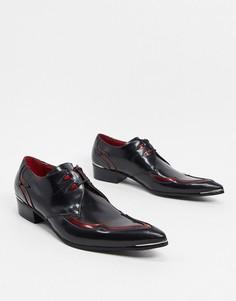 Черно-красные кожаные туфли на шнуровке Jeffery West Adamant-Красный