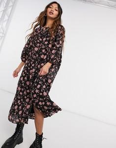 Черное цветочное платье миди свободного кроя с разрезом сбоку Vero Moda-Многоцветный
