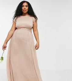 Платье макси с присборенным лифом и короткими рукавами ASOS DESIGN Curve Bridesmaid-Розовый цвет