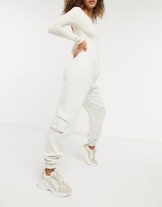 Свободные джоггеры кремового цвета в стиле карго (от комплекта) Public Desire-Белый