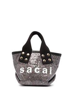 Sacai маленькая сумка-тоут с логотипом