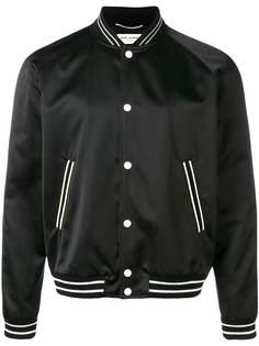 Saint Laurent куртка-бомбер с отделкой