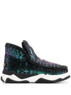 Mou зимние ботинки со змеиным принтом