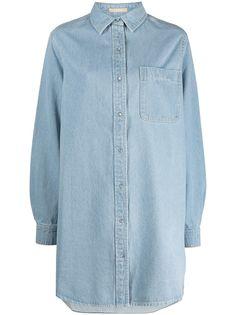 12 STOREEZ джинсовое платье-рубашка с накладным карманом