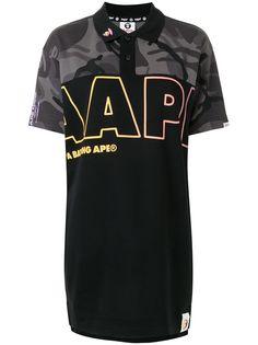AAPE BY *A BATHING APE® рубашка поло с камуфляжным принтом и логотипом