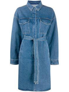 12 STOREEZ джинсовое платье-рубашка с поясом