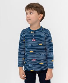 Синяя футболка с длинным рукавом Button Blue