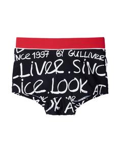 Черные плавки-боксеры со шрифтовым орнаментом Gulliver