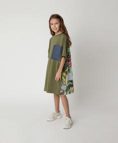 Платье трикотажное с принтом Gulliver