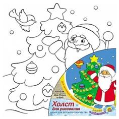 """Раскраска по номерам """"Дед Мороз и елка"""" на ч/б холсте, 15 х 15 см Рыжий кот"""