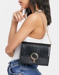 Черная сумка через плечо с эффектом крокодиловой кожи и застежкой-зажимом French Connection-Черный цвет