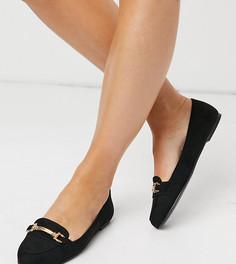 Черные лоферы из искусственной замши на плоской подошве для широкой стопы New Look-Черный цвет