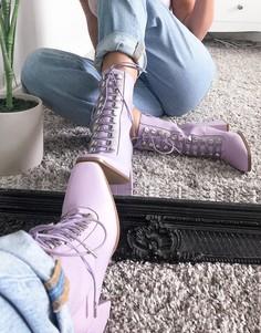 Сиреневые ботинки на каблуке из искусственной кожи со шнуровкой Pimkie-Сиреневый