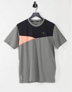 Серая футболка в стиле колор блок с короткими рукавами PUMA Train-Серый