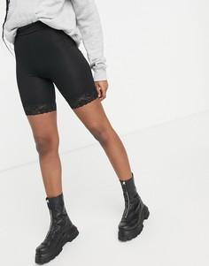 Черные шорты-леггинсы с кружевной отделкой по краю Miss Selfridge-Черный цвет