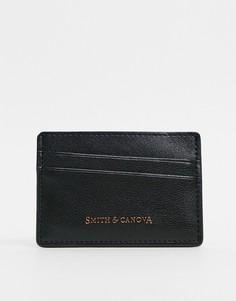 Кредитница черного цвета с диагональным узором Smith & Canova-Черный цвет