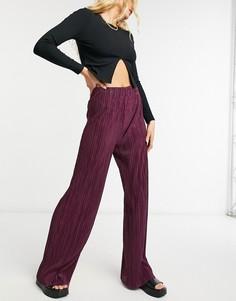 Темно-бордовые плиссированные брюки с широкими штанинами ASOS DESIGN-Красный