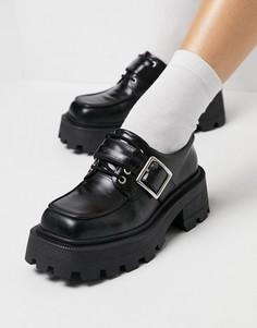 Черные кожаные туфли на плоской подошве и со шнуровкой ASOS DESIGN Motive-Черный цвет