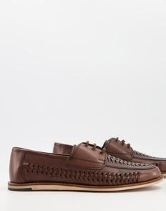 Коричневые кожаные туфли на шнуровке с плетеной отделкой Silver Street-Коричневый цвет