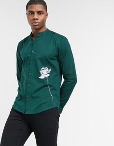 Рубашка в винтажном стиле с длинными рукавами и принтом розы Bolongaro Trevor-Зеленый цвет