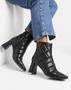 Черные стеганые ботинки на каблуке Stradivarius-Черный