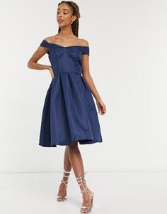 Темно-синее платье миди с открытыми плечами Chi Chi London-Темно-синий
